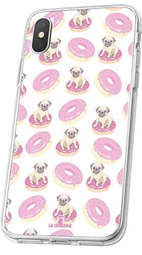 LA COQUERIE - Cover rigida in silicone per cani, motivo: ciambelle e cani