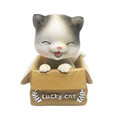 Cxssxling WackelKatze Katze Wackelkopf Figur Wackelfiguren Schaukelspielzeug Tanzender Katze Ornamente Spielzeug für Auto Armaturenbrett Dekoration