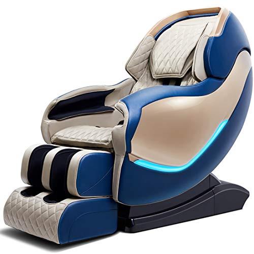 lcc Sillón de Masaje RLS-900, Masaje 3D, Gravedad Cero para Todo el Cuerpo, con calefacción, Pista SL, golpeteo, Amasado, Sistema de Masaje de Aire, sillón Shiatsu de relajación Profesional,Azul