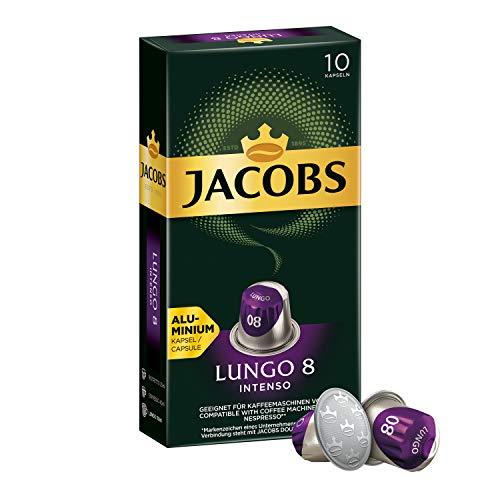 Jacobs Kaffeekapseln Lungo Intenso, Intensität 8 von 12, 50 Nespresso kompatible Kapseln, 5er Pack (5 x 52 g)