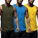 COOFANDY Juego de 3 camisetas de tirantes para hombre, para fitness, deporte, sin mangas, para entrenamiento, gimnasio, culturismo, sin mangas Verde Ejército Azul Amarillo L