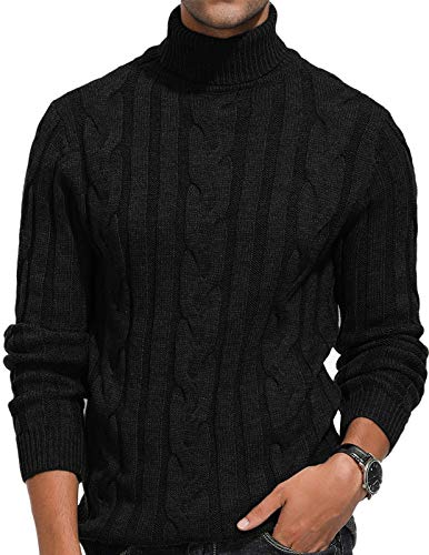 Men's Casual Slim Fit Tops Sweater Knitted Thermal Turtleneck Pullover Black 2XL