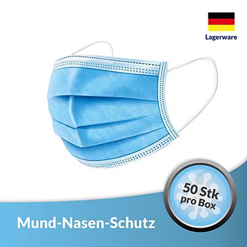 NowusGames® Mund- und Nasenschutz Vlies 3-lagig mit Nasenbügel und Elastischem Band 50 Stück