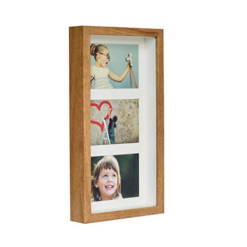 BD ART 7x14 (18 x 35 x 4.7 cm) Rustic Oak Shadow Box 3D Picture Frame with Mat for 3 pictures 4x6 inch, Glass Front