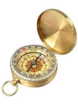 HNYM-Boussole Compass Rétro Portable en Métà lentilal pour randonnée/Voyage/Camping/Sauvages/Navigation (Or)