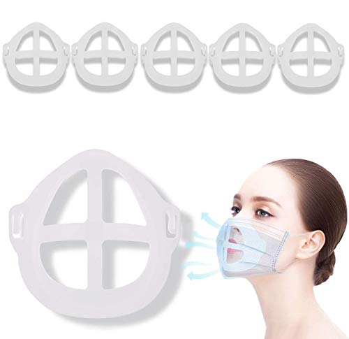 5PCS 3D Face Bracket for Increase Breathing Space, Silicone Face Cover Wearing Frame Masks to Protect Lipstick Enhance Breathing Space for Men Women Kids Adults