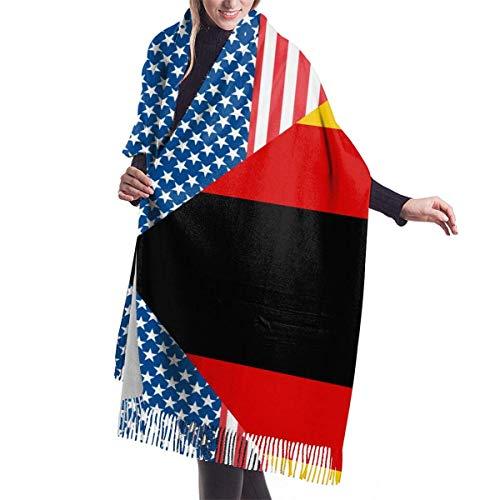 Bufanda de mantón Mujer Chales para, Mujeres Hombres Bandera de Estados Unidos y Alemania Bufanda de cachemira Estampado Chal Abrigo Bufanda Invierno Cálido Bufandas acogedoras