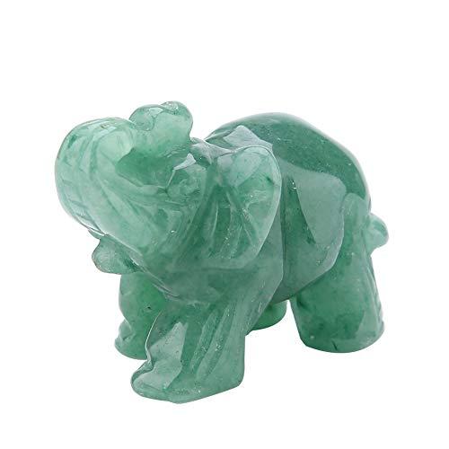 HEEPDD Elefant Figur, 2 Zoll natürliche Jade geschnitzten Elefanten Mini Pocket Crystal Figur für Reichtum glückliche Figuren Skulpturen Home Decor(Grüner Aventurin)