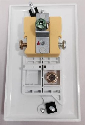 Certicable Custom Designed White Single Gang Wall Plate - 110V Power + Coax Cable TV F-Type