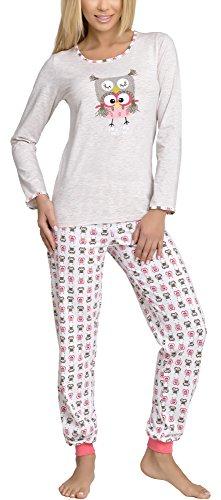 Merry Style Damen Schlafanzug 980 (Beige, 36 (Herstellergröße: S))