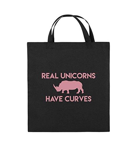 Comedy Bags - REAL Unicorns Have Curves - Jutebeutel - Kurze Henkel - 38x42cm - Farbe: Schwarz/Rosa