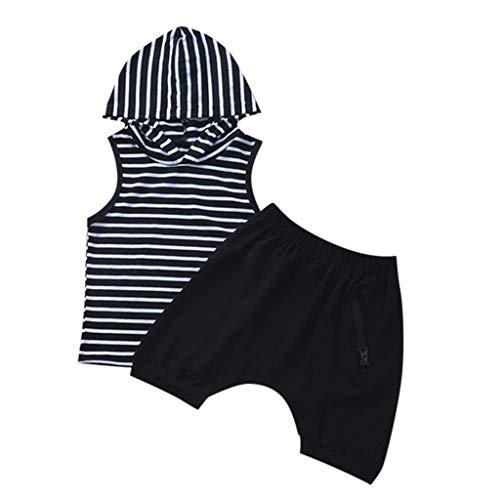 Janly Clearance Sale Conjunto de trajes para niños de 0 a 5 años, sin mangas con capucha y pantalones cortos, para niños grandes de 2 a 3 años (negro)