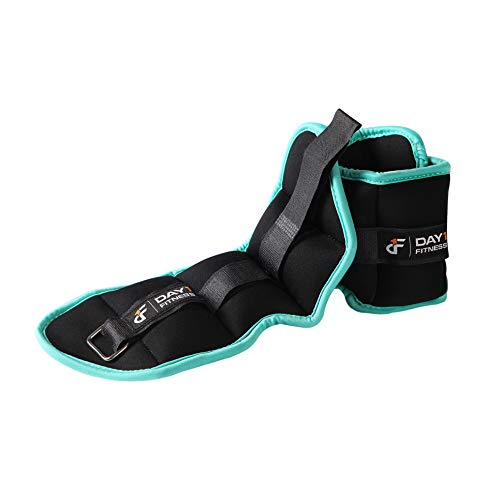 Day 1 Fitness Ankle Weight Pair 1.5 LBS, Set of 2 with Adjustable Velcro Straps - Breathable, Moisture Absorbent Weight Straps for Men and Women - Comfortable Ankle, Wrist Weights