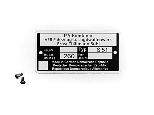 Set Rahmenplakette, Typenschild für S51 - mit 2x Kerbnagel Ø2,5x5mm