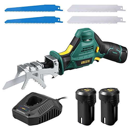 URCERI Cordless Reciprocating Saw 12 V 2.0 Ah Li-ion Cordless Sabre Saw with 2 Batteries and a Fast Charger 2 Wood Cutting Blades and 2 Soft Metal Cutting Blades