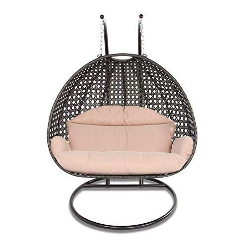 Island Gale Luxury 2 Person Wicker Swing Chair ((2 Person) X-Large-Plus, Charcoal Rattan/Latte Cushion)