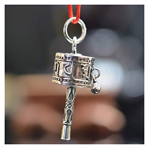 Silver Retro Spinning Rueda de oración Tibetano Budismo Colgante Hand-Grooking Rueda de oración Saludable y macrobiana Artesanía auspiciosa (Color : Silver White, Size : 4X2CM)