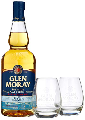 Glen Moray Elgin Classic Peated Single Malt Scotch Whisky mit 2 Gläsern (1 x 0.70 l)