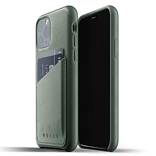 Mujjo Full Leather Wallet Case for Apple iPhone 11 Pro | 2-3 Card Holder Pocket | Premium Soft Supple Leather, Unique Natural Aging Effect (Slate Green)