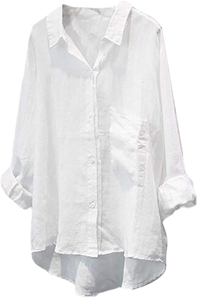 FTCayanz Women's Casual Linen Blouses Tops V Neck Long Sleeve Button Down Shirts