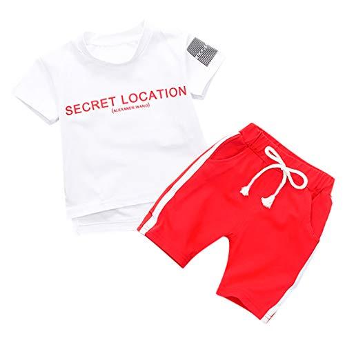 Julhold Peuter Kinderen Baby Jongens Casual Leuke Letter Korte Mouw Katoen T Shirt Tops Shorts 2 STKS Outfits Set 0-3 Jaar