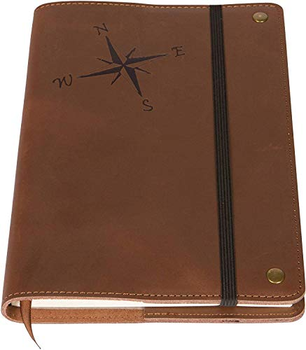The Compass Rose - Real Leather Refillable Writing Journal | Elastic Strap | Blank Journal | 200 Lined Pages, 6 x 8.5 Inches for Travel, Personal, Poetry | Brown | The Amazing Office