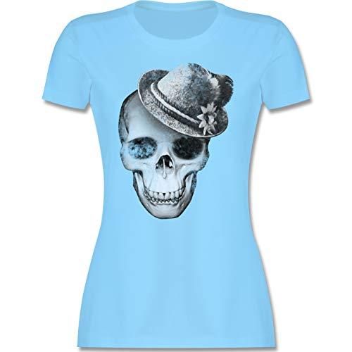 Oktoberfest Damen - Totenkopf mit Filzhut - M - Hellblau - Trachten Oberteile für Damen - L191 - Tailliertes Tshirt für Damen und Frauen T-Shirt