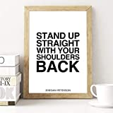 24.Decembre Jordan Peterson Quote Print - Rule 1. Stand Up Straight with Your Shoulders Back - 12 Rules for Life Poster Wall Art Motivational Typography