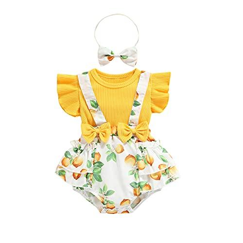 EpicLife Conjunto de verano para niñas recién nacidas con volantes florales y correas acanaladas, mameluco con lazo para la cabeza, amarillo, 24 meses