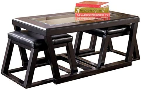Best Signature Design by Ashley - Kelton Coffee Table with 2 Stools, 3 Piece Set, Espresso Brown with Gla