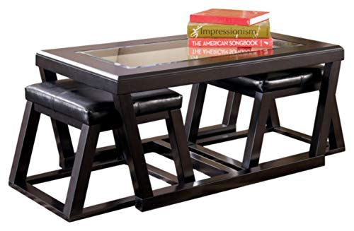 Signature Design by Ashley - Kelton Glass Top Coffee Table with 2 Stools - 3 Piece Set, Espresso Brown