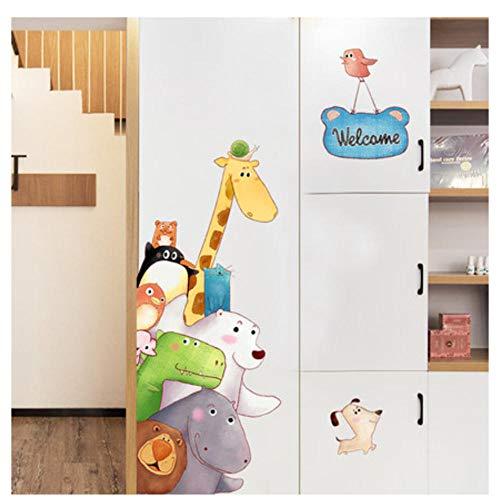 Muurtattoo dieren Welkom decoratie vinyl muur stickers Cartoon Jiraffe Kids Baby Room Decoratie voor huis Nursery Decals Poster 60 x 90 cm