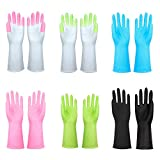 Household Cleaning Gloves Reusable Kitchen Dishwashing Rubber Gloves for Dish Washing Laundry by DreamSter, 6 Pairs, Mixed Size