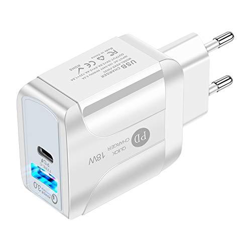 TOOGOO Cargador RáPido de Pared USB C 18W PD/USB Tipo C Adaptador de Corriente 2 Puertos QC3.0 Enchufe Plegable para 12 Enchufe de la UE
