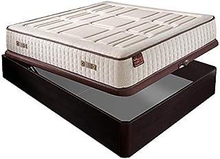 Colchón HR Cotton con visco 27 cm Extra Firme Transpirable + Canapé abatible Madera 3D Transpirable Altura 34 cm - Wengue, 150x200cm