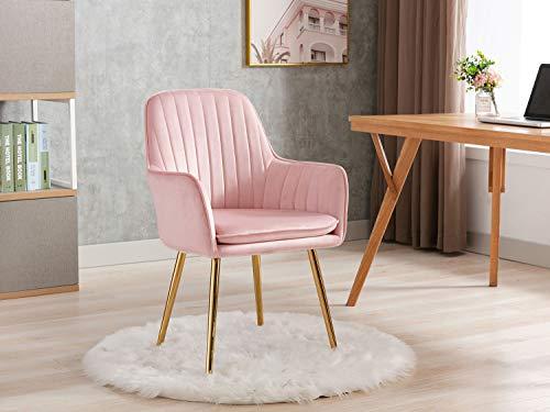 Altrobene Velvet Accent Chair, Home Office Desk Chair, Modern Dinging Chair, Living Room Bedroom Chair, Golden Finished, Pink
