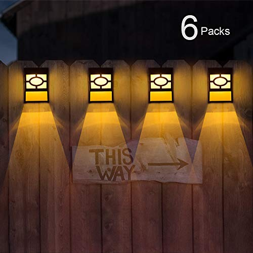 Solar Deck Lights, Outdoor Garden Decorative Fence Post Lighting, Black 6 Packs