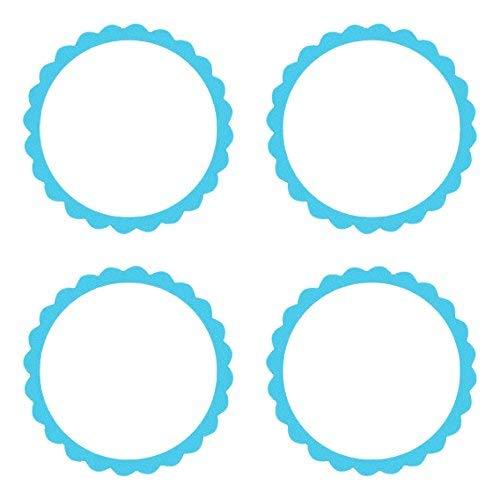 amscan - Etichette con Bordi ondulati, Colore: Azzurro (Caribbean Blue)