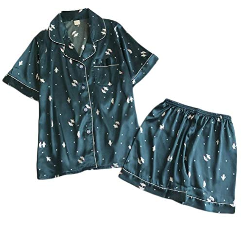 QVC Damen Set mit kurzen Ärmeln, Nachtwäsche, bedruckt, kurze Nachtwäsche, Hose, Sets für Damen, Nachthemd, Sommer, Dessous, Pyjama Gr. Large, Kleine Größe