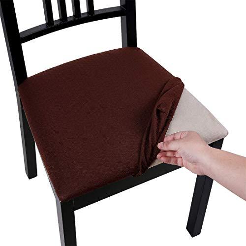 Homaxy Stretch Spandex Jacquard Esszimmerstuhl Sitzbezüge Stuhlhussen, herausnehmbarer waschbarer Anti-Staub Esszimmerstuhl Sitzkissen Hussen - 4er Set, Braun