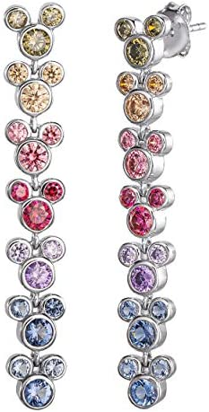 Disney Mickey Mouse Sterling Silver Rainbow Cubic Zirconia Dangle Earrings 1 5 product image