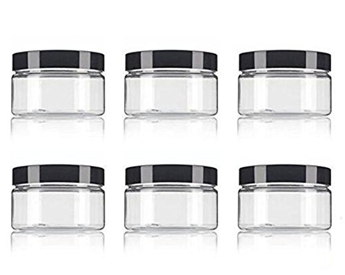 Clear PET Plastic (BPA Free) Refillable Low Profile Jar 8 Oz / 250ml Empty Cosmetic Containers Cases with Black Lid for Lip Balm Make Up Eye Shadow Powder Cream Lotion Bottle Food Bottle (6 pack)