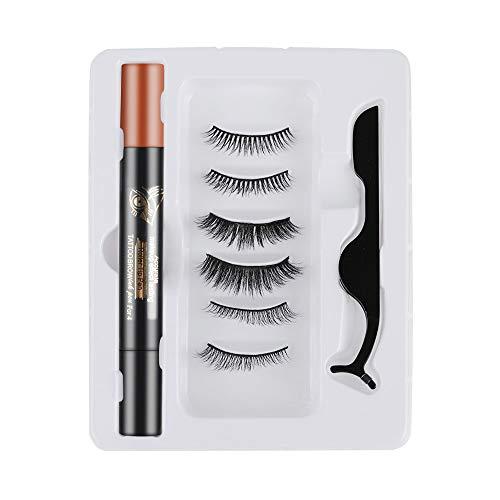 False Eyelashes Natural Long Lash 4 In 1 Long -lasting Eye Makeup Tools with Eyebrow Tattoo Pen Magic Self-adhesive Eyeliner(Light Brown)