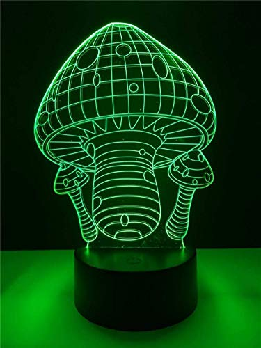 Linda luz de noche de seta 3D LED 7 lámpara de mesa que cambia de color USB linterna inalámbrica hermoso regalo para niñas niños decoración regalos