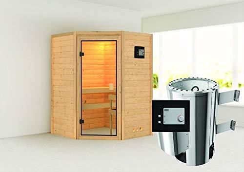 Alicja - Karibu Sauna Plug & Play inkl. 3,6 kW-Ofen - ohne Dachkranz -