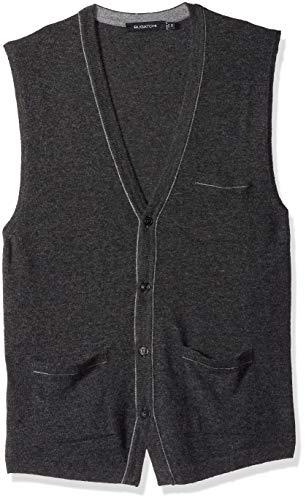 Bugatchi Men's Lightweight V-Neck Sweater Vest, Graphite, M