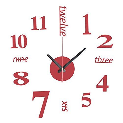 EsportsMJJ DIY Mini Modern Art Miroir Horloge Murale 3D Sticker Design Maison Bureau Décoration-Rouge