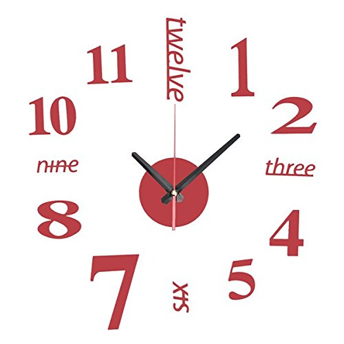 EsportsMJJ Bricolaje Mini Arte Moderno Espejo Reloj De Pared 3D Etiqueta De Diseño De Oficina En Casa Decoración De Habitación-Rojo
