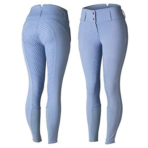 Horze Daniela damskie bryczesy do jazdy konnej silikonowy uchwyt pełne siedzenie   wysoka talia   spodnie jeździeckie   legginsy   rajstopy, niebieskie, 40