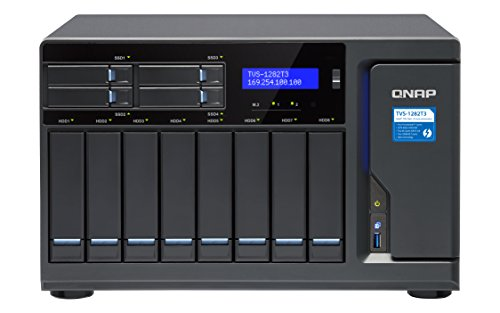 QNAP TVS-1282T3 NAS Tower Ethernet LAN Black - NAS & Storage Servers (32 TB, HDD, HDD, SSD, Serial ATA III, 4000 GB, 3.5')
